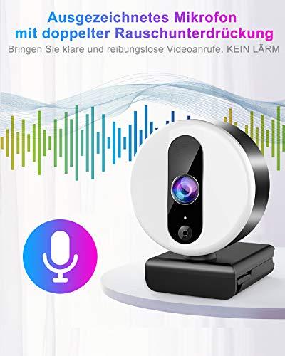 2K Webcam mit Mikrofon für PC,Ringlicht Web Cam USB mit Abdeckung und Stativ für PC/MAC/Laptop/Desktop, HD Web Kamera Streaming für YouTube,Skype,Zoom,Xbox,Lernen, Videokonferenz und Videoanrufe