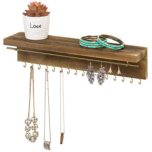 MyGift Wall Mounted Rustic Wood & Brass-Tone Metal Jewelry Display Organizer Rack with Necklace/Bracelet Bar and 16 Hooks