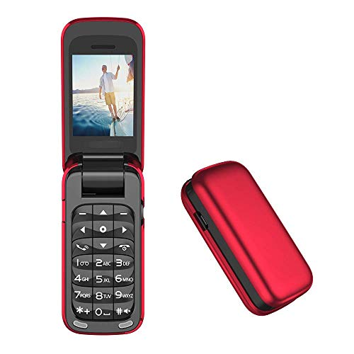 KAUTO Mini teléfonos, teléfonos móviles para niños Mayores, teléfonos pequeños con Bluetooth, teléfonos Rojos Antiguos, teléfonos monomodo de Tarjeta única, teléfonos con Tapa -