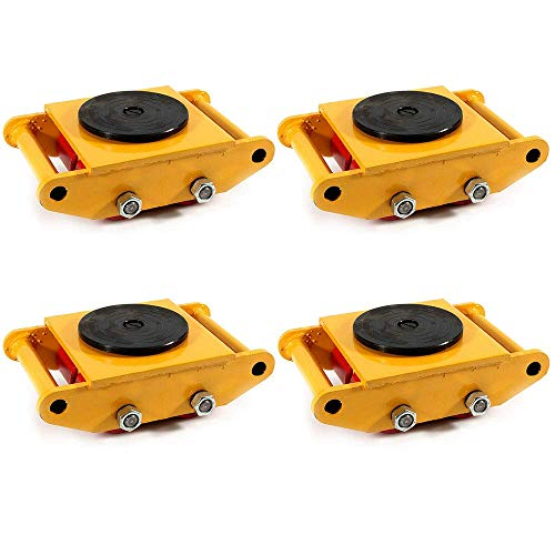 4Pcs Machinery Mover Set Machine Dolly Skate 4 Rollers 6Ton with 360° Rotate Cap 【Apply for Epoxy-Coating Floor】