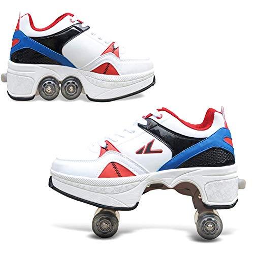 HealHeatersR Kids Deformatie Quad Roller Schaatsen voor Meisjes Jongens Dubbele Rij Vervormen Wiel Automatische Wandelschoenen Onzichtbare Pulley Schoenen Skates