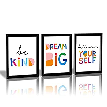 """HPNIUB Framed Watercolor Words Inspirational Quote Art Print Set of 3  8""""X10"""" -Ready to Hang-Motivational Typography Canvas Painting,Believe in Yourself- Dream Big- Be Kind Print for Classroom Decor"""