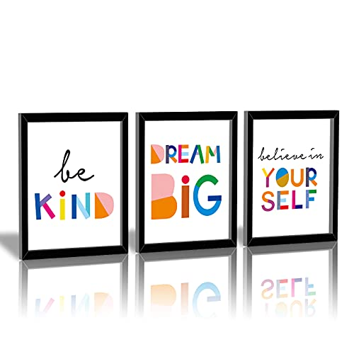 """HPNIUB Framed Watercolor Words Inspirational Quote Art Print Set of 3 (8""""X10"""")-Ready to Hang-Motivational Typography Canvas Painting,Believe in Yourself- Dream Big- Be Kind Print for Classroom Decor"""