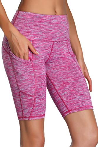 Oalka Women's Yoga Short Side Pockets High Waist Workout Running Shorts Space Dye Camo Pink S