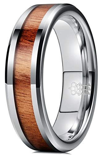 THREE KEYS JEWELRY 6mm Tungsten Wedding Ring with Koa Wood Inlay silver Flat Wedding Band Engagement Ring Comfort Fit Size 8