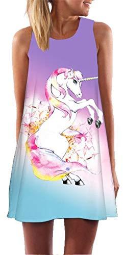 Ocean Plus Mujer Verano Tops Camisola sin Mangas Colorido Ropa Pavo Real Flores Vestidos de Playa Búho Corto A Line Vestido Cover Up (XL (EU 40-42), Brillo Unicornio)