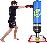 Dripex Punching-Ball Enfant 120 cm Sac de Frappe Boxe sur Pied avec Ventouses pour Karaté Taekwondo MMA Cadeau Noël et Nouvel an pour Enfants - Bleu