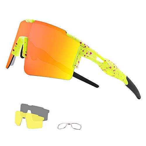 DUDUKING Occhiali Ciclismo Polarizzati con 3 Lenti Intercambiabili Occhiali Bici Antivento e Antiappannamento Occhiali Sportivi da Sole Anti UV da Uomo Donna per Corsa, MTB e Running (Orange)