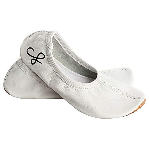 Siegertreppchen® Zapatillas deportivas de piel (talla 26-40), color blanco, zapatillas de gimnasia para niños y adultos, zapatillas de ballet transpirables y antideslizantes, color Blanco, talla 35 EU