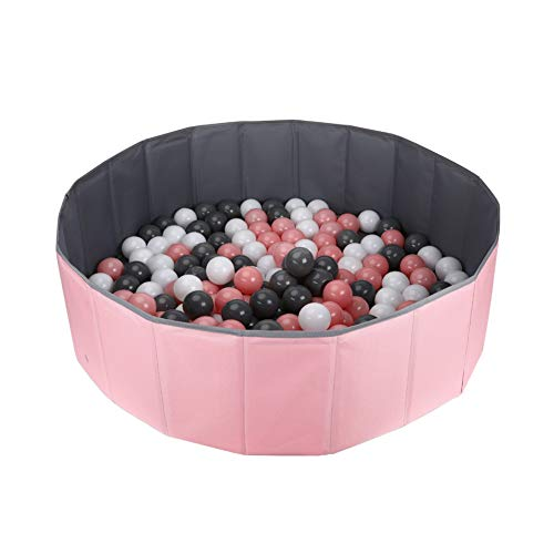 Ball Pit for Kids / Baby Play Yard / Ball Pool / Baby Playpen / Fence for Baby, Folding Portable, No Need Inflate, More Than 12 Sq.ft Play Space (Pink)
