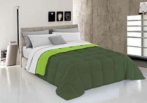 Italian Bed Linen Elegant Trapunta Invernale, Microfibra, Verde Mela/Verde Scuro, 260 x 260 cm