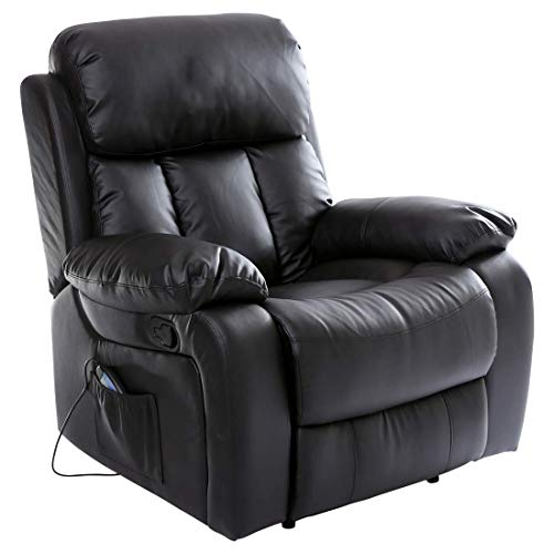 More4Homes (tm) CHESTER HEATED MASSAGE RECLINER BONDED LEATHER CHAIR SOFA LOUNGE GAMING HOME ARMCHAIR (Black)