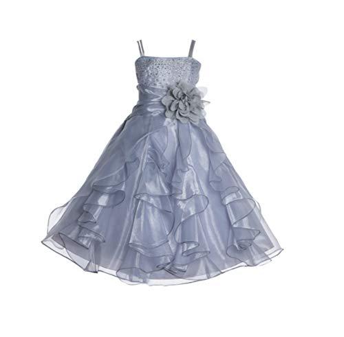 ekidsbridal Shimmering Organza Rhinestones Junior Flower Girl Dress Princess Dress J120NF 12 Silver