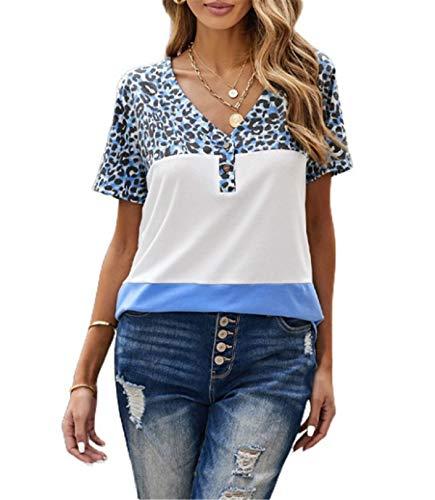 Camiseta de manga corta para mujer, diseño de leopardo con cuello en V
