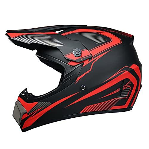 LGLE Casco de Moto-Cross Brillante, con Gafas, Máscara, Guantes, Casco de Descenso de Enduro de Motocicleta para Adultos, Casco de Motocicleta ATV MTB Quad,B,M