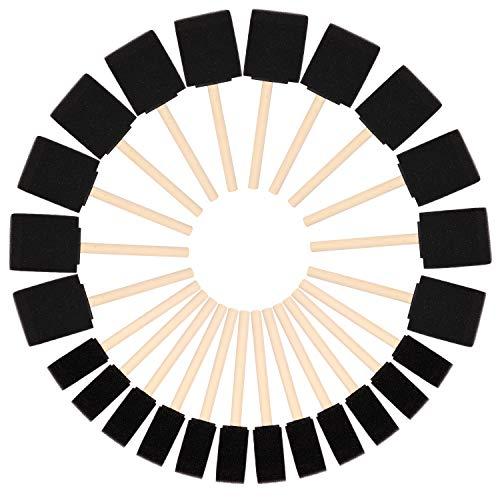 Kurtzy Brocha de Esponja para Pintar (Pack de 24) – Dos Tamaños - Set Pincel Espuma Mango de Madera – Herramienta Pintar Acrílico, Esmalte, Tintes y Acuarela - Esponja Pintura para Manualidades