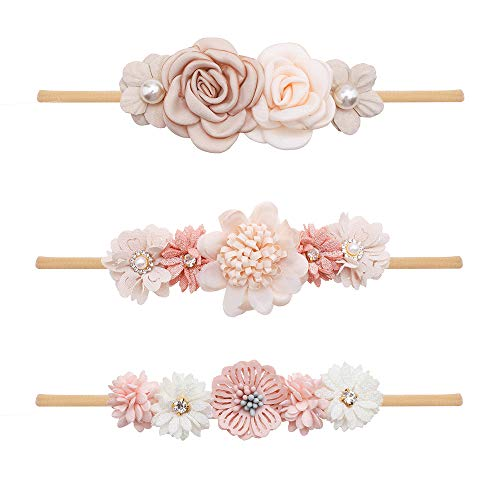 Baby Girl Floral Headbands Set - 3pcs Flower Crown Newborn Toddler Hair Accessories by mligril (Off wihte)