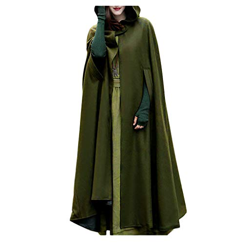 Auwer Women Trench Coat Batwing Cape Wool Poncho Jacket Warm Cloak Coat with Hood (XL, Army Green)