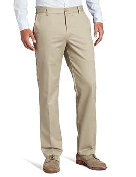 IZOD Men s American Chino Flat Front Slim Fit Pant Khaki 32W x 34L