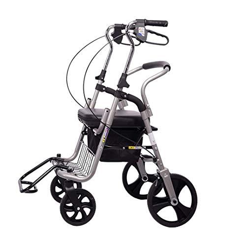 SPORETE 3 höhenverstellbare Folding Mobility Rolling Walker, 4-Rad-Rollator Walker mit PU Sitz, Medical Heavy Duty Transport Stuhl Mobilität Rollator mit Fußstützen,Silber