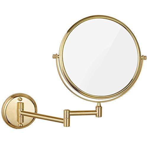 DCLINA Espejos Maquillaje para Mujer montados en la Pared, Espejos tocador Doble Cara 8 Pulgadas con Lupa, Espejos giratorios Extensibles para baño, Dorado, 5X