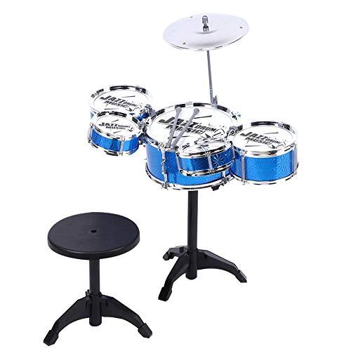 Tnfeeon Juego de batería de Jazz Educativo temprano, Juguete de Instrumento Musical de simulación de 5 Tambores con Taburete Set de Juguete Musical con batería de Ritmo(Azul)