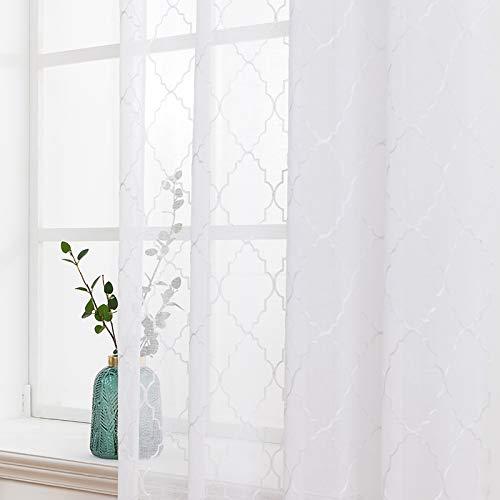 MIULEE 2er Set Voile Marokko Vorhang Sheer mit Ösen Transparente Optik Gardine Ösenschal Wohnzimmer Fensterschal Luftig Lichtdurchlässig Dekoschal für Schlafzimmer 160 x 140cm (H x B) Weiß