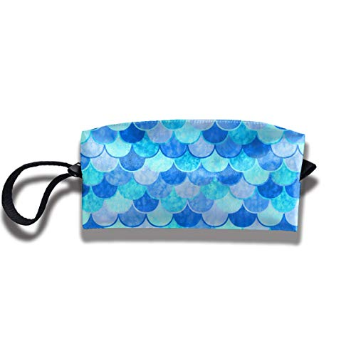 Cosmetics Receive Bag Stationery Pouch Bag - Sky Blue Mermaid Fish Scale Cosmetic Makeup Bag Storage Pouch
