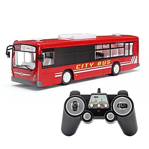RC Bus juguete, modelo de autobús remoto de 2.4GHz RC Modelo de autobús para niños con puertas de apertura, escala RC Modelo de coche con simulación de sonido de autobús de la ciudad de sonido para ni