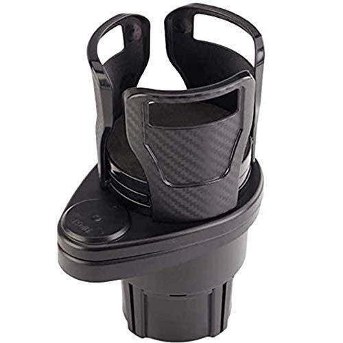 RANSHUO 2-in-1-multifunktions-2-tassenhalter, Expander-Adapter Für Autotassenhalter, Montage des Extenders Mit Um 360 ° Drehbarem, Verstellbarem Boden Für Kaffeetassen Carbon Black