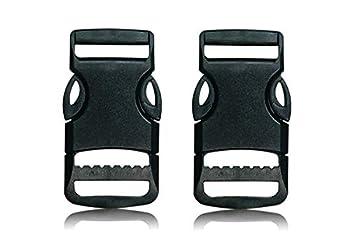 BOB-MEISTERWERK Boucles en Plastique avec Boucle à Clip 20MM/ 25MM/ 30MM / 50MM, à Déclenchement Rapide, Noir - Fabriqué dans l'UE (Noir 25MM (2 Pièces Nouveau Design))