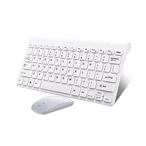 L-sister Alta precisión Teclado de ratón de Radiocomunicaciones para computadora portátil Mac Dorada Ergonómica Gaming Keyboard Mouse Combo Multimedia Mini Mejor sensibilidad (Color : White)