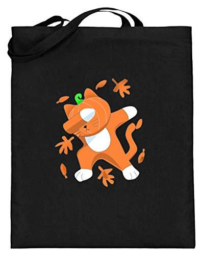 Dabbing kat met pompoenkop Cat Pumpkin Halloween - eenvoudig en grappig design - jute zak (met lange handvatten)