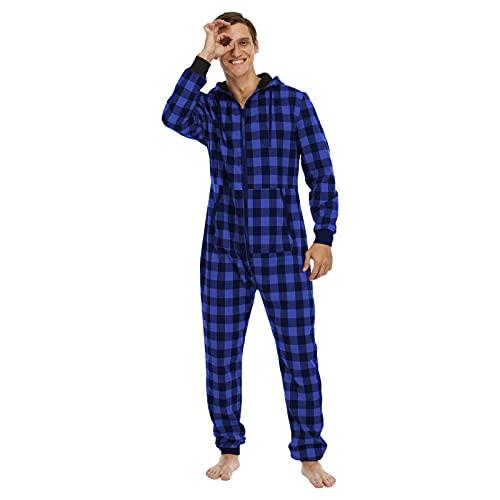 BIBOKAOKE Jumpsuit Pyjama Herren Lang Kariert Schlafanzug Einteiler Overall Jogging Anzug Trainingsanzug mit Kapuze und Reißverschluss Strampler Freizeitanzug Jogginghose Loungewear