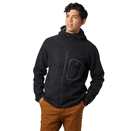 Mountain Hardwear Men's Hatcher Full Zip Wool Hoody | Fleece-Lined Jacket for Active and Casual Use - Black - XX-Large