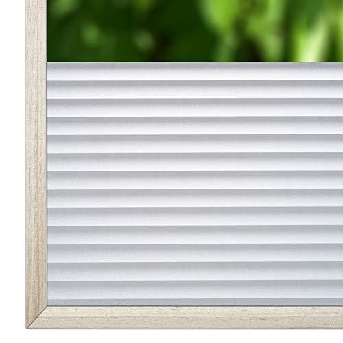 Qualsen Privatsphäre Fensterfolie Dekorfolie Sichtschutzfolie Ohne Kleber Selbstklebend Glas Fenster Aufkleber Anti-UV Folie (44.3cm X 200cm, P040)