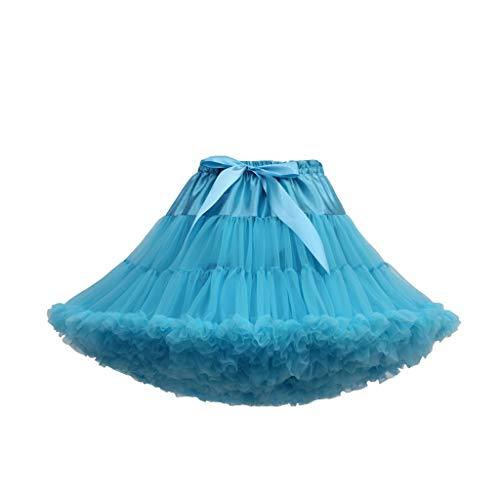 KPILP Damen Tüllrock Kurz Tutu Ballett Ballkleid Vintage Ballet Blase Firt Tulle Petticoat Unterrock 50er Rockabilly Plissee Party Kostüm Womens Skirt Dress