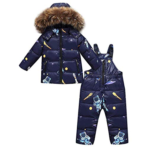 Glaiidy Kinder Schneeanzug Zweiteilig Junge Mädchen Daunenjacke Daunenhose 2Tlg Verdickte Skianzug Süß Fashionable Completi Winterjacke Mit Kaputze (Color : Blau, Size : 100)