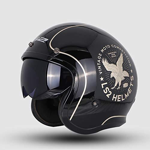 Personalidad Vintage Harley Cascos Moto Half-Helmet, Transpirable Cálido Adulto Hombres Mujeres Casco Scooter Casco Jet ECE Certificado L-4XL (54-64cm),Eagle,L