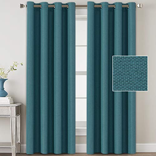 Linen Blackout Curtains 84 Inches Long for Bedroom / Living Room Thermal Insulated Grommet Curtain Drapes Primitive Textured Linen Burlab Effect Window Draperies 2 Panels - Aegean Blue