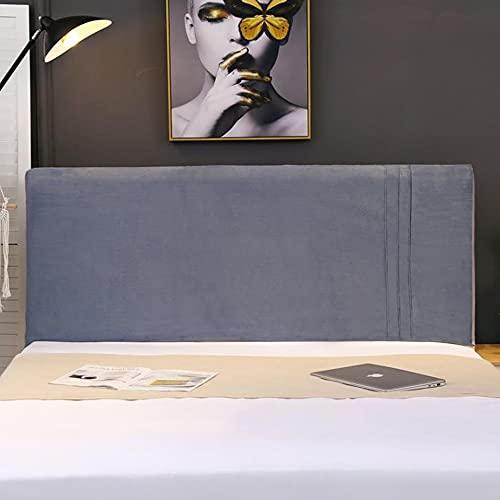 LDMB Funda elástica para cabecera de cama, color sólido, lavable, cama individual/doble king size para decoración de dormitorio, gris, 180 cm