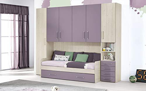 Dafne Italian Design Dormitorio completo con puente – Efecto Altea beige, lavanda (doble cama individual y armario) (295 x 93 x 245 cm)