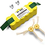 Mr.Batt 3500mAh Replacement Battery with 2 Side Brushes for iRobot Roomba 500 600 700 800 Series
