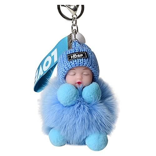 HEling Portachiavi da donna Furry Sleeping Baby Keychain con pompon adatto per borse dei bambini o portachiavi per auto (L)
