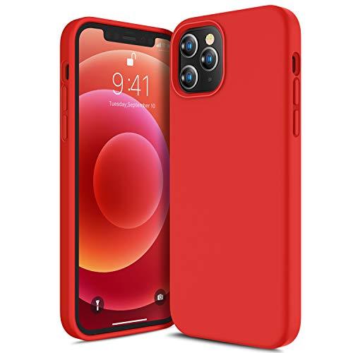 CANSHN Liquid Silikon Hülle Kompatibel mit iPhone 12 Pro Max 2020, Seidig Weiche Matte Gel Gummi mit Samtiger Microfaserinnenfutter Stoßfest Vollkörperschutz Case Handyhülle Schutzhülle - Rot