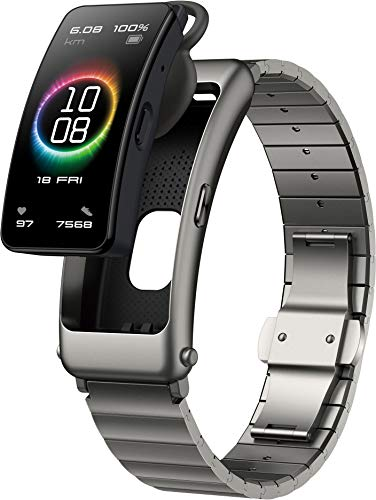 HUAWEI TalkBand B6 Elite Bluetooth Headset & SmartBand (39mm AMOLED-Display, SpO2-Erkennung, Herzfrequenzmessung, Bluetooth Telefonie, wasserfest IPX7) Titanium Gray