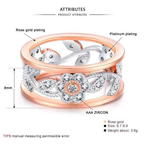 Thumby Diamond Lucky Bloem Wijnstok Bladeren Verjaardagscadeau Bruid Verloving Ring Verlovingsring, Semi-Edelstenen Vrouwelijk, Sweet Style, Party Dubbele Ring, Pavé Setting, Plant, Micro-Set, Transpar