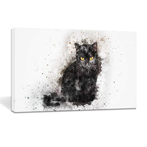 BOLUO Black Cat Canvas Wall Art Painting Framed Prints Artwork Watercolor Pictures Cute Animal Poster Bedroom Home Decor 10x16in (Cat-Black)