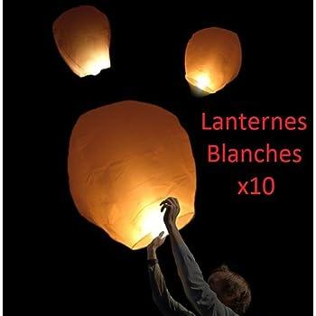 Lot de 10 pi/éces Lanterne C/éleste Tha/ïlandaise Volante 100/% biod/égradables et non inflamables