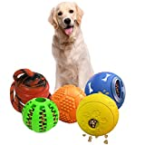 ANKII 5 Pack Interactive Dog Toys Ball, Dog Puzzles Toys for Small Medium Large Dogs, Durable Squeaky Balls Nontoxic Bite Resistant Dog Chew Toys